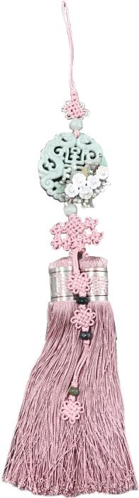 シルク手彫り新翡翠とパール花装飾ノリゲ コーラルピンク■norige-h-61-s【ギフト】【お土産】