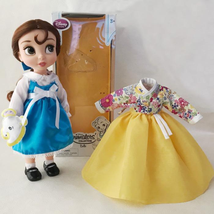 美女と野獣 ベル プリンセス 人形 40cm 着せ替えチマチョゴリ付き 黄リバティ風■disney-belle1-s【ギフト】【お土産】