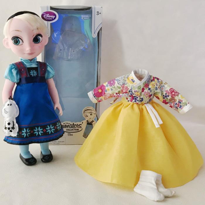 アナと雪の女王 エルサ人形 40cm 着せ替えチマチョゴリ付き 黄リバティ風■disney-elsa1-s【ギフト】【お土産】