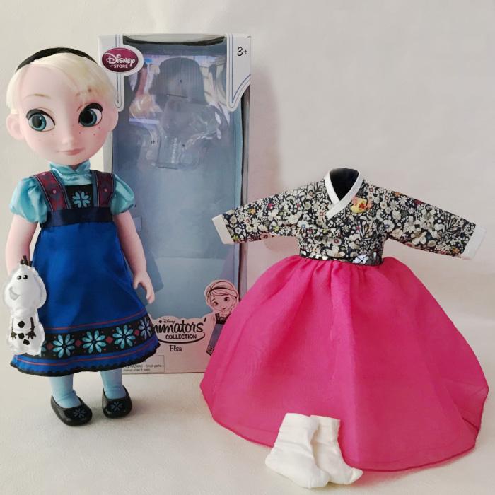 アナと雪の女王 エルサ人形 40cm 着せ替えチマチョゴリ付き ピンクリバティ風■disney-elsa2-s【ギフト】【お土産】