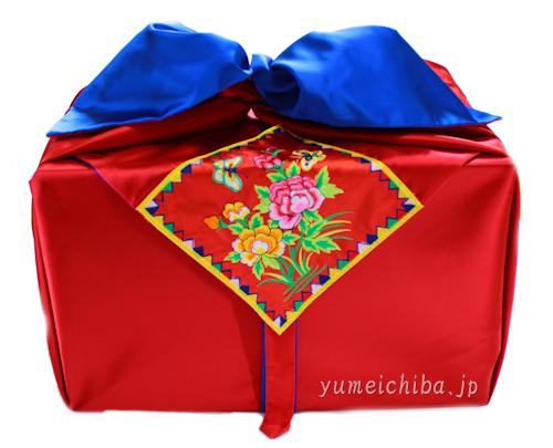 韓国婚礼風呂敷B赤×青150cm角 (両面使い可能)■furoshiki-b-22-s【ギフト】【お土産】