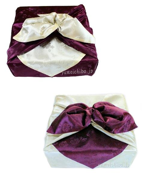 韓国風呂敷M紫×アイボリー 90cm角(両面使い可能)■furoshiki-m-38-s【ギフト】【お土産】
