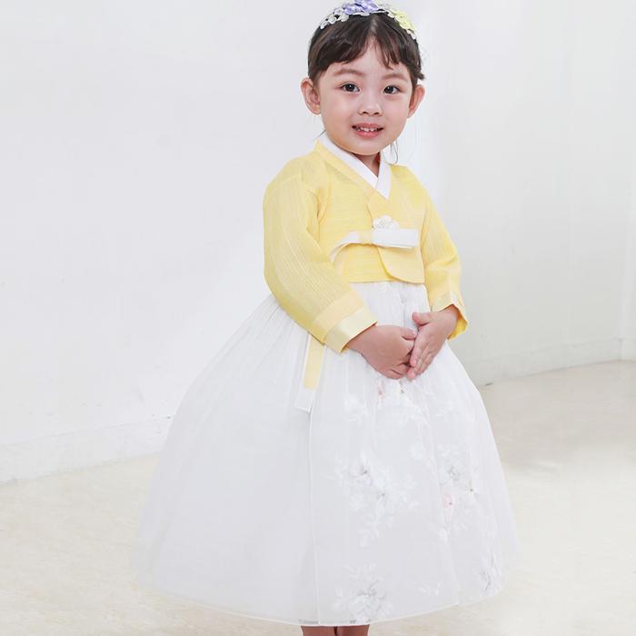 明るい黄色の組み合わせの女の子チマチョゴリ ■チマチョゴリセットeセボム(身長83~85cm 2号サイズ)■キュートシリーズ■目安年令1-2才■sa-ge1219-19-006-2