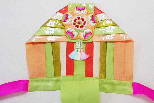 刺繍セットン黄緑クルレ帽子女の子用(100日~4才目安)■kulre-8-s【ギフト】【お土産】【誕生祝】