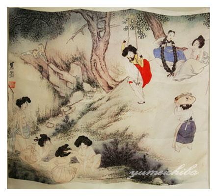 韓国壁掛け民画のクロス(風俗図) 縦長■tapestry-4-s【ギフト】【お土産】