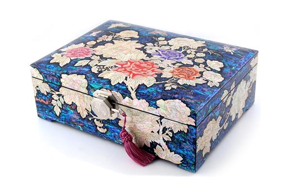 韓国螺鈿打抜き宝石箱牡丹と蝶(特大)?jewelrybox-drjb320-s【ギフト】