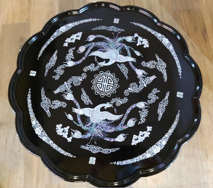 韓国螺鈿漆塗り丸お膳双龍柄小■oz-111-s【ギフト】【お土産】【長寿祝】