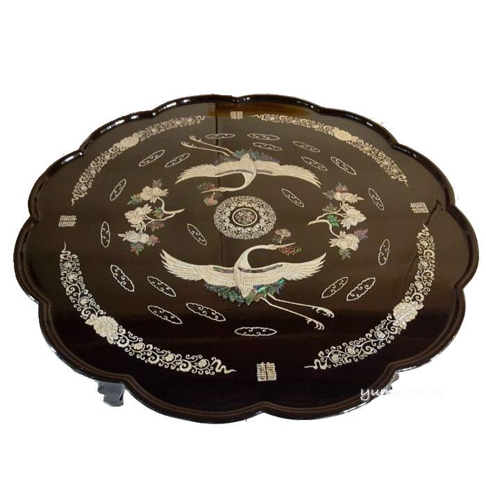韓国漆塗り丸角お膳(大)■oz-turu04-s【ギフト】【お土産】【長寿祝】