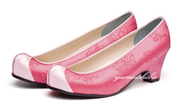 2020新作 シンプルでおしゃれコッシンが足元を飾る チマチョゴリの靴韓服靴 返品送料無料 55ピンク×白ピンク■kotshin-8pwp-s コンダンコッシン