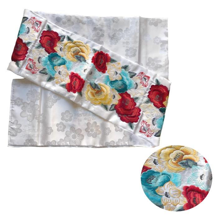マルギ帯牡丹刺繍白オウドン・縫製済■oudon-18-s【ギフト】【お土産】