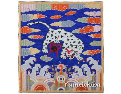 刺繍ワッペン・四角虎青■wap-h-sq2-s【ギフト】【お土産】