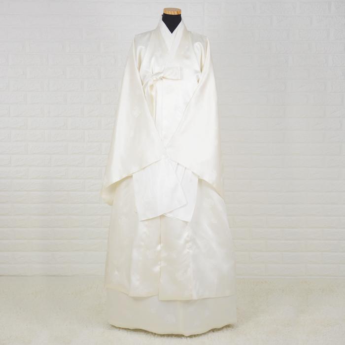 韓国葬儀用衣装女性用チョゴリ・シルク高級寿衣フルセット[アイボリー]■sui-2-3-s