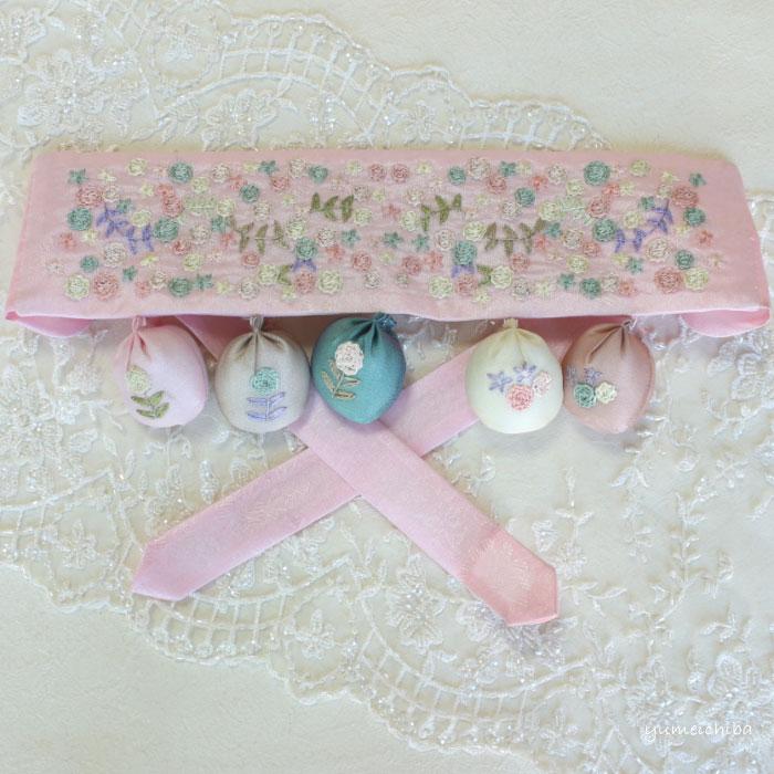 韓国1歳のお誕生日用 手刺繍祝い帯トルティ・リボン■tolti-28-s【ギフト】【御百日祝】【誕生祝】