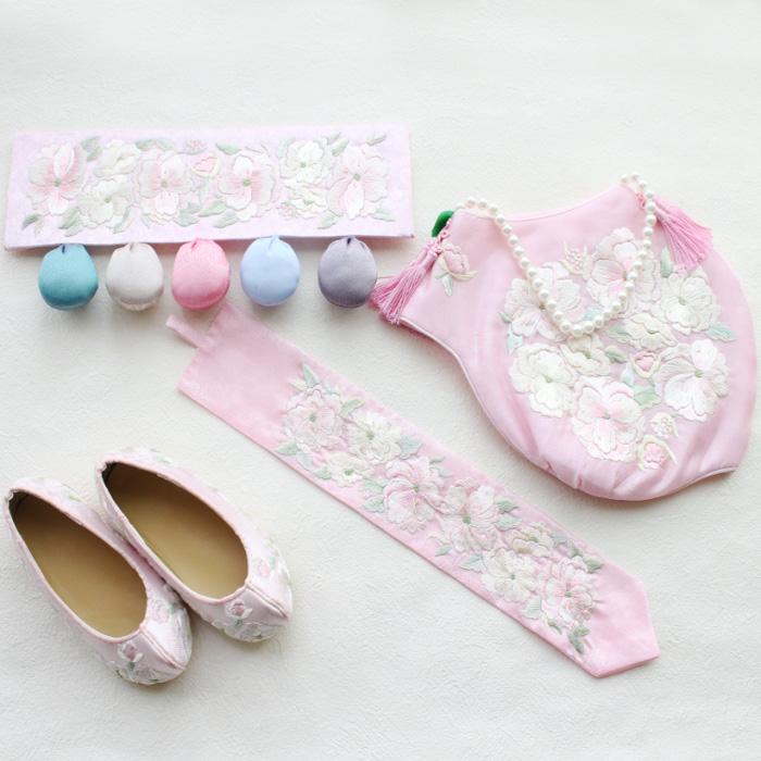 韓国1歳のお誕生日用 刺繍祝い帯トルティ・ピンク牡丹4点セット■toltiset-1-s【ギフト】【御百日祝】【誕生祝】