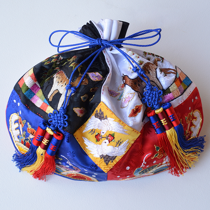 パーティーバッグ・手刺繍オバンチュモニ【五方巾着】■bag-4-2-s【ギフト】