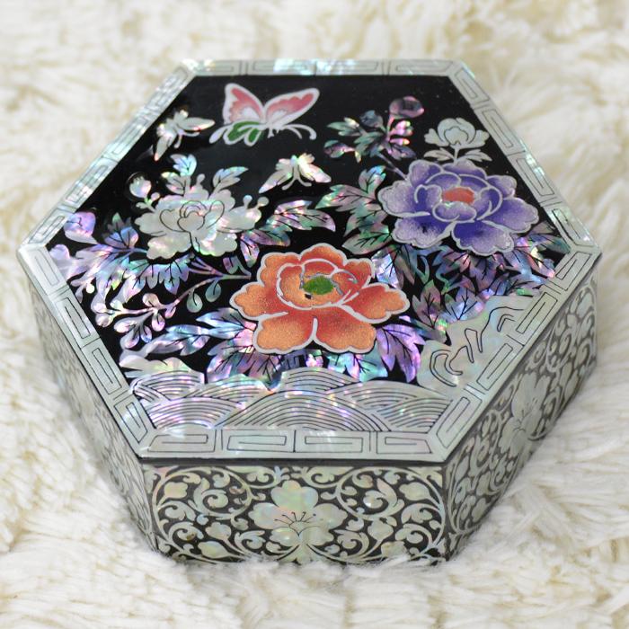 韓国六角螺鈿宝石小物入れ 牡丹■komonoire-25-s【ギフト】【お土産】【長寿祝】
