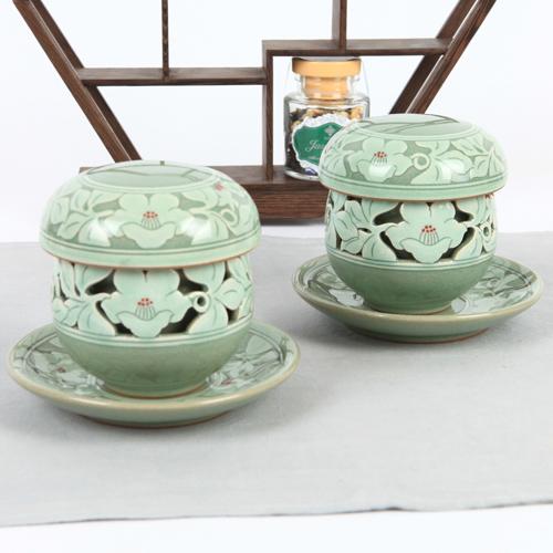 韓国青磁茶器牡丹2客8ピース (2客分・蓋、茶こし付き)■chaki-1-s【ギフト】【お土産】【長寿祝】【引出物】