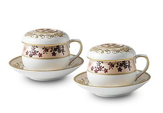韓国茶器兼コーヒーカップ  牡丹と蝶 2客8ピース■chaki-11-s【ギフト】【お土産】【長寿祝】【引出物】