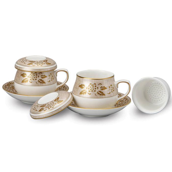韓国茶器兼コーヒーカップ 牡丹 2客8ピース■chaki-14-s【ギフト】【お土産】【長寿祝】【引出物】