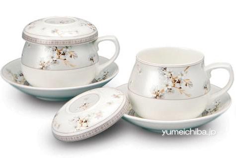 韓国茶器兼コーヒーカップ ミスティーブルー 2客8ピース■chaki-15-s【ギフト】【お土産】【長寿祝】【引出物】