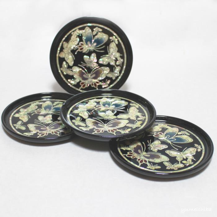 韓国螺鈿茶托(蝶の舞い)4枚セット■coaster-5-s【ギフト】【お土産】【長寿祝】【引出物】