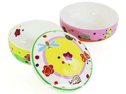 100日のお祝いに本物の陶磁器を 韓国子供用食器セット3ピース ピクニック■kids-shokki-2-s 100日1才用品 [正規販売店] ギフト 限定価格セール