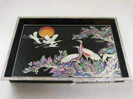 韓国四角漆螺鈿お盆■obon-4-s【ギフト】【お土産】【長寿祝】【引出物】