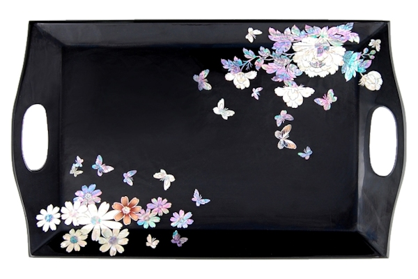 韓国四角螺鈿お盆花の饗宴柄(黒)■obon-drtr34-s【ギフト】【お土産】【長寿祝】