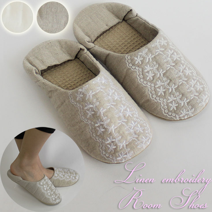 ffd49815e Linen lace embroidery room shoes = (ot) nonstandard-size indoor slippers  slippers Japan ...