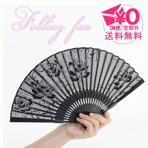 扇子 シースルー ラメ バラ = (ot)メール便送料無料 透ける 夏 ファッション雑貨 =