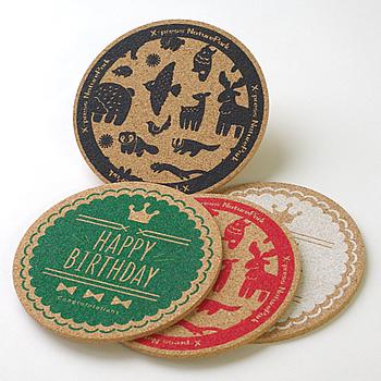【ノベルティ】【オリジナル印刷】小ロット コルクコースター 80枚(誕生日 記念日 お祝い プレゼント 名入れ 印刷 オリジナル デザイン コルク コースター)