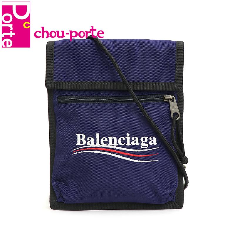 【未使用品】 バレンシアガ (BALENCIAGA) ストラップ ポーチ エクスプローラー ネイビー ナイロン ロゴ刺繍 532298 メンズ