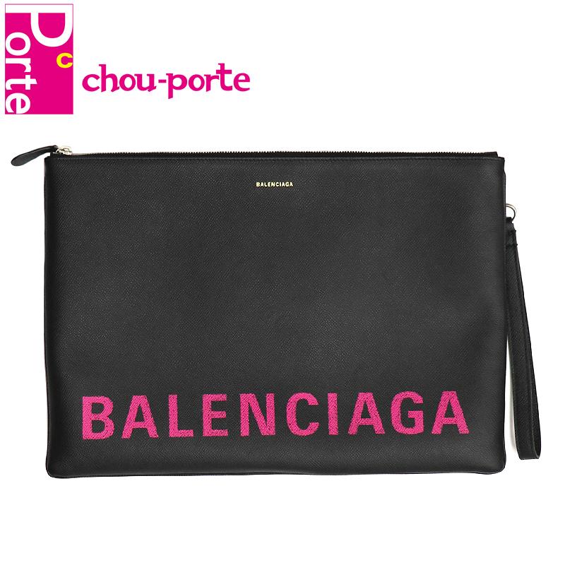 【未使用品】 バレンシアガ (BALENCIAGA) クラッチバッグ ヴィル VILLE グラフィティ ロゴプリント ブラック 黒 ピンク レザー リストレット 529315 メンズ