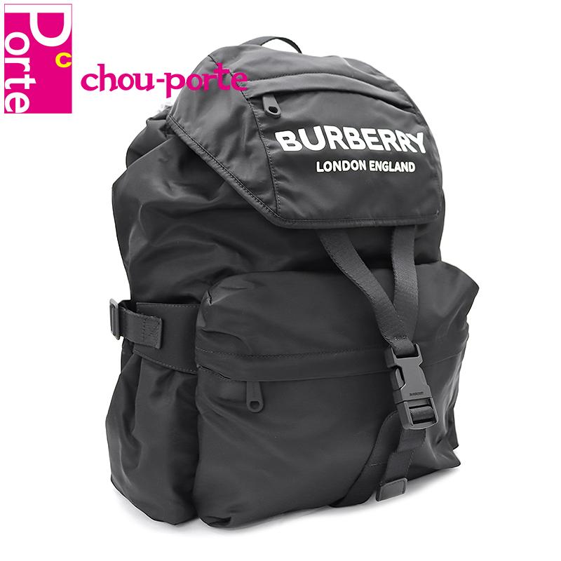 【未使用品】 バーバリー (BURBERRY) バックパック ロゴ プリント A:LL WILFIN ブラック 黒 ナイロン 8010608 メンズ レディース