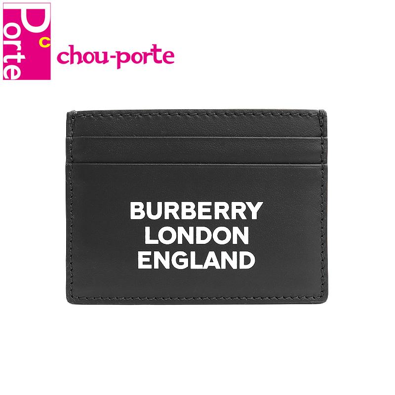 【未使用品】 バーバリー (BURBERRY) 名刺入れ ロゴプリント カードケース A:MS SANDON ブラック 黒 カーフレザー 8009213 メンズ レディース