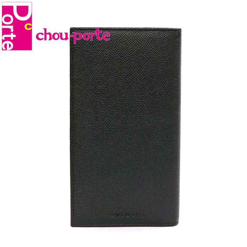 【未使用品】 ブルガリ (BVLGARI) 二つ折り長財布 クラシコ グレインカーフレザー ブラック 黒 25752 メンズ