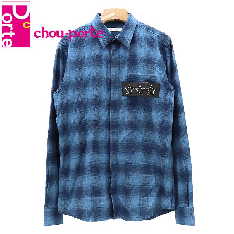 【中古美品】 ジバンシィ (GIVENCHY) ボタンダウンシャツ チェック コットン レザー ブルー 39サイズ メンズ