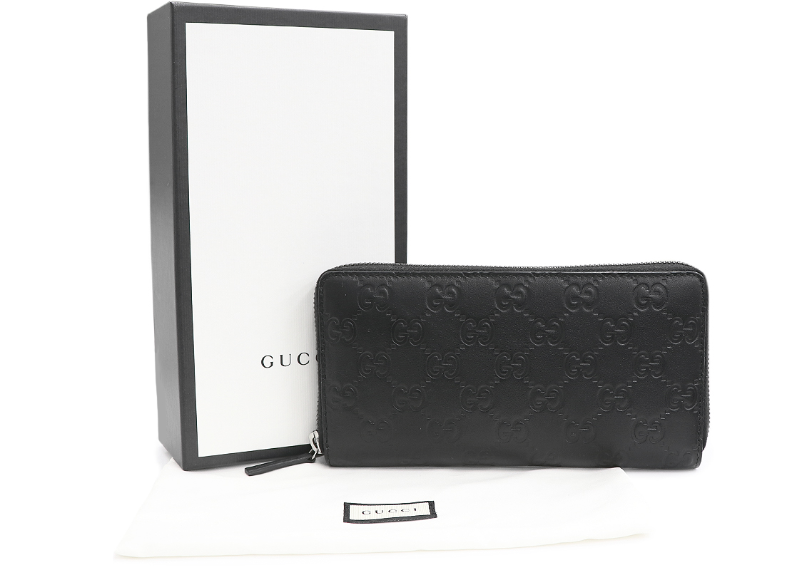 29d2613f6c40c2 ... GUCCI (Gucci) zip around wallet black black Gucci sima leather 307,987  rounds fastener long