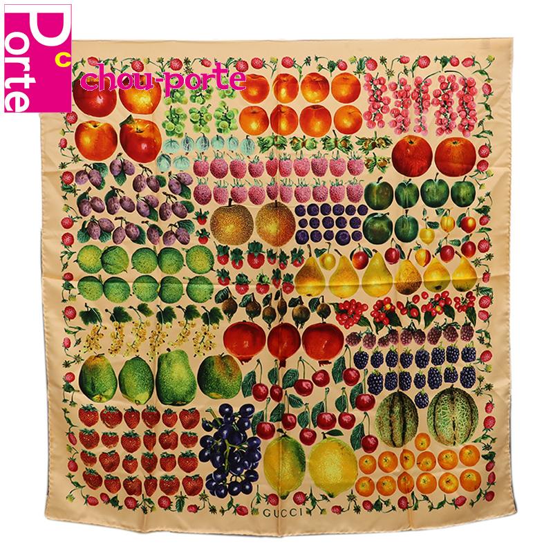 【中古良品】 グッチ (GUCCI) シルクスカーフ 90 フルーツ 果物 プリント オレンジ系マルチカラー レディース