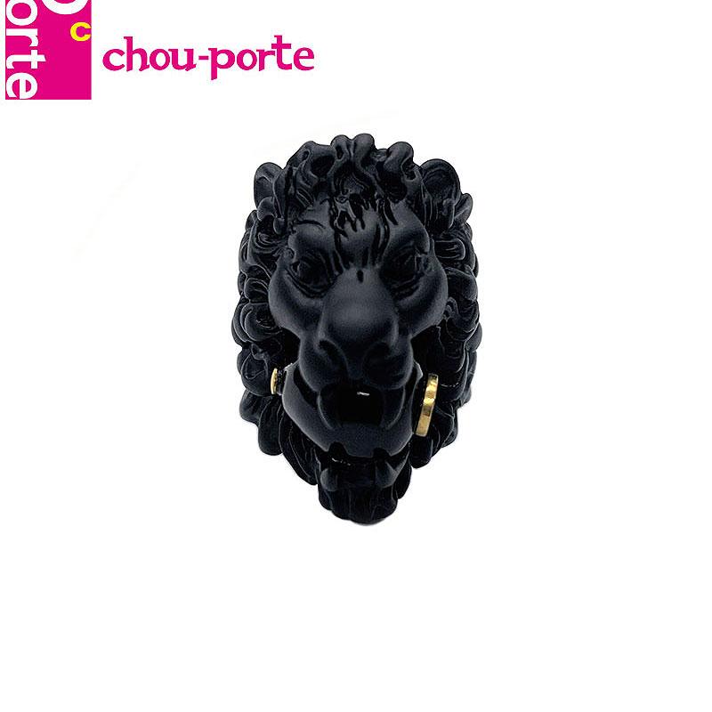 【中古美品】 グッチ (GUCCI) ライオンヘッド リング #13 ブラックメタル グラスパール インターロッキングG 指輪 メンズ レディース