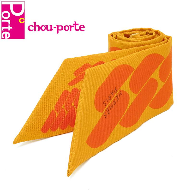 chou-porte シュポルテ 未使用品 エルメス HERMES ツイリー 爆買い送料無料 シルクスカーフ ジョーヌドール オレンジ レディース ヌエ 062917S 5%OFF C'EST NOUE セ CLIC クリック