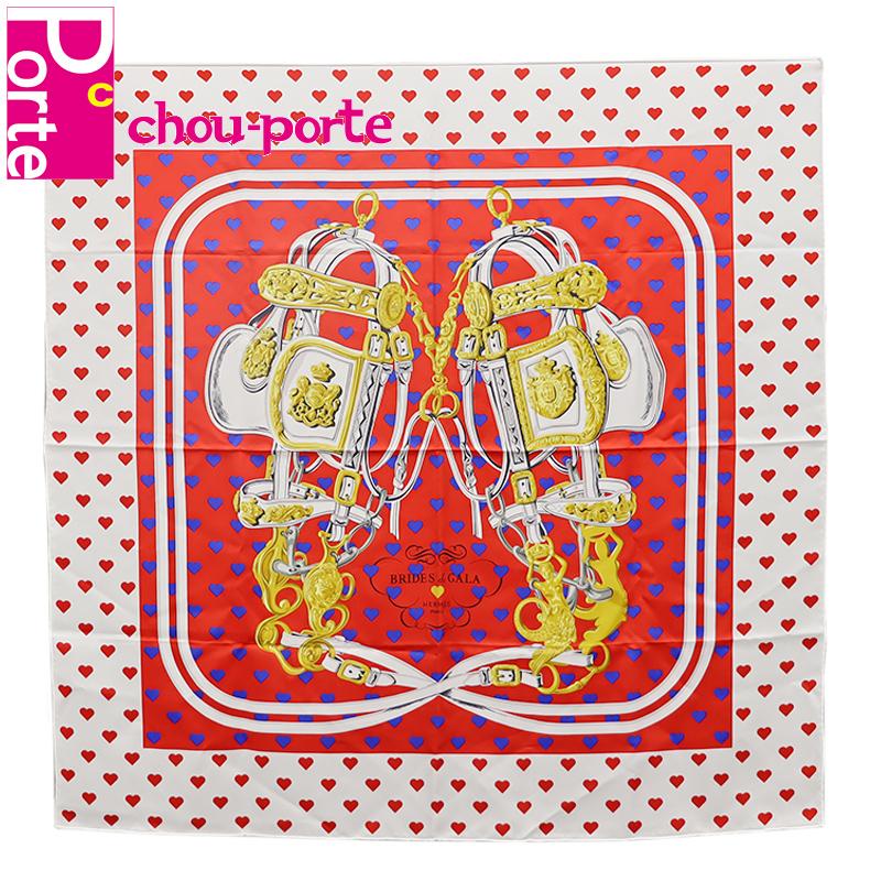 【中古美品】 エルメス (HERMES) カレ 90 シルクスカーフ BRIDES DE GALA Love ハート レッド系 マルチカラー インテリア レディース