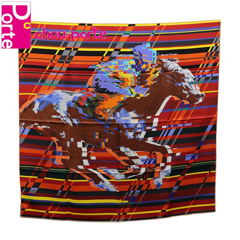 【未使用品】 エルメス (HERMES) カレ 90 シルクスカーフ Photo Finish オレンジ ブラウン マルチカラー インテリア レディース