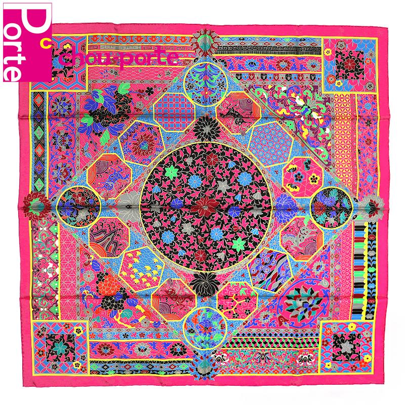 【中古極美品】 エルメス (HERMES) カレ 90 シルクスカーフ Collections Imperiales (王室のコレクション) ピンク系 マルチカラー 花柄 インテリア レディース