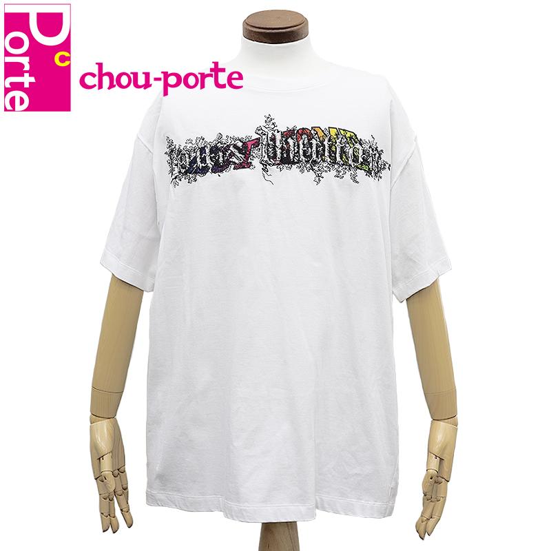 【中古美品】 ルイヴィトン (LOUIS VUITTON) Tシャツ 刺繍 レインボー スパイラル プリント ロゴ XLサイズ 185/105 ホワイト 白 マルチカラー コットン メンズ 2019SS