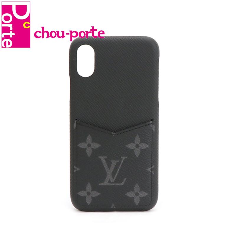 【中古極美品】 現行品 ルイヴィトン (LOUIS VUITTON) スマホケース iPhone バンパー X/XS タイガレザー モノグラムエクリプス ブラック 黒 M67806 2019年製 メンズ