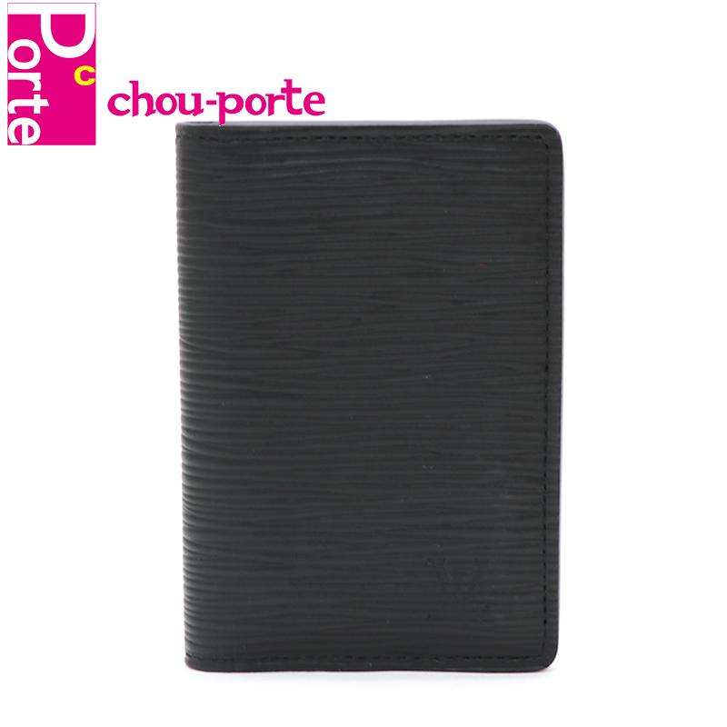 信託 chou-porte シュポルテ 中古極美品 現行品 ルイヴィトン LOUIS VUITTON カードケース 世界の人気ブランド パスケース ドゥ レザー ブラック 黒 メンズ ポッシュ M60642 エピ オーガナイザー
