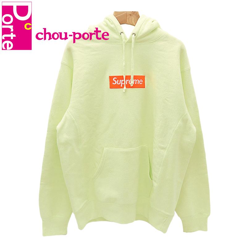 【中古極美品】 2017AW シュプリーム (Supreme) Box Logo Hooded Sweatshirt Pale Lime ボックスロゴ パーカー ライム Lサイズ メンズ レディース