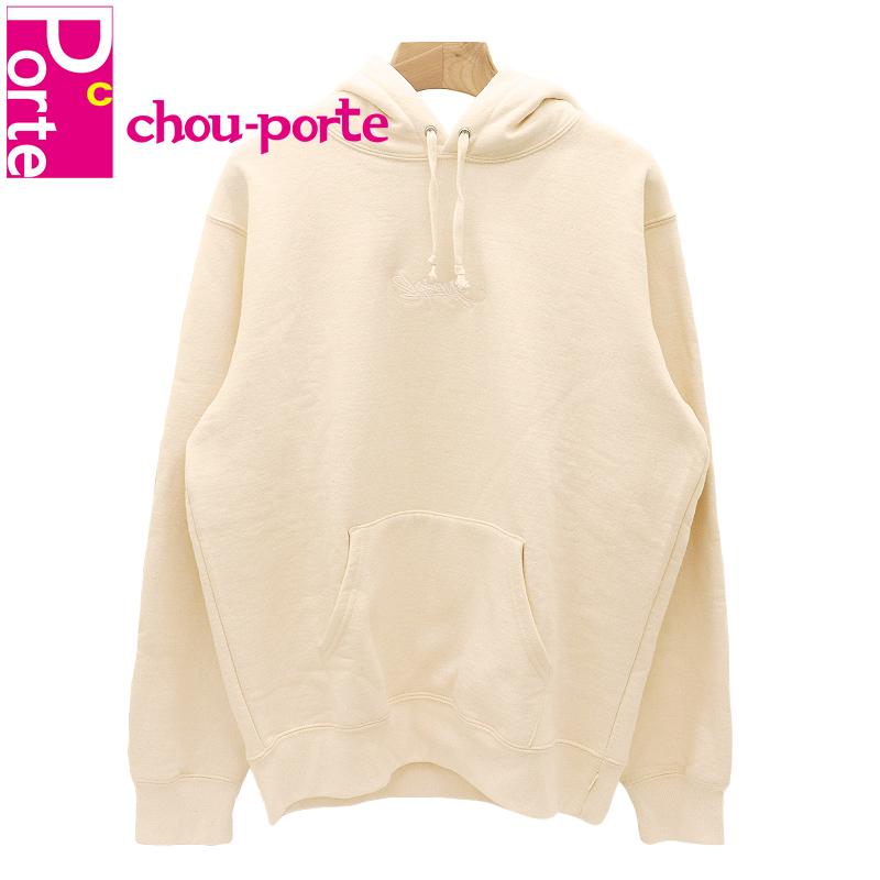 【未使用品】 2019SS シュプリーム (Supreme) Tag Logo Hooded Sweatshirt Natural タグロゴ刺繍 スウェット パーカー アイボリー Mサイズ メンズ レディース
