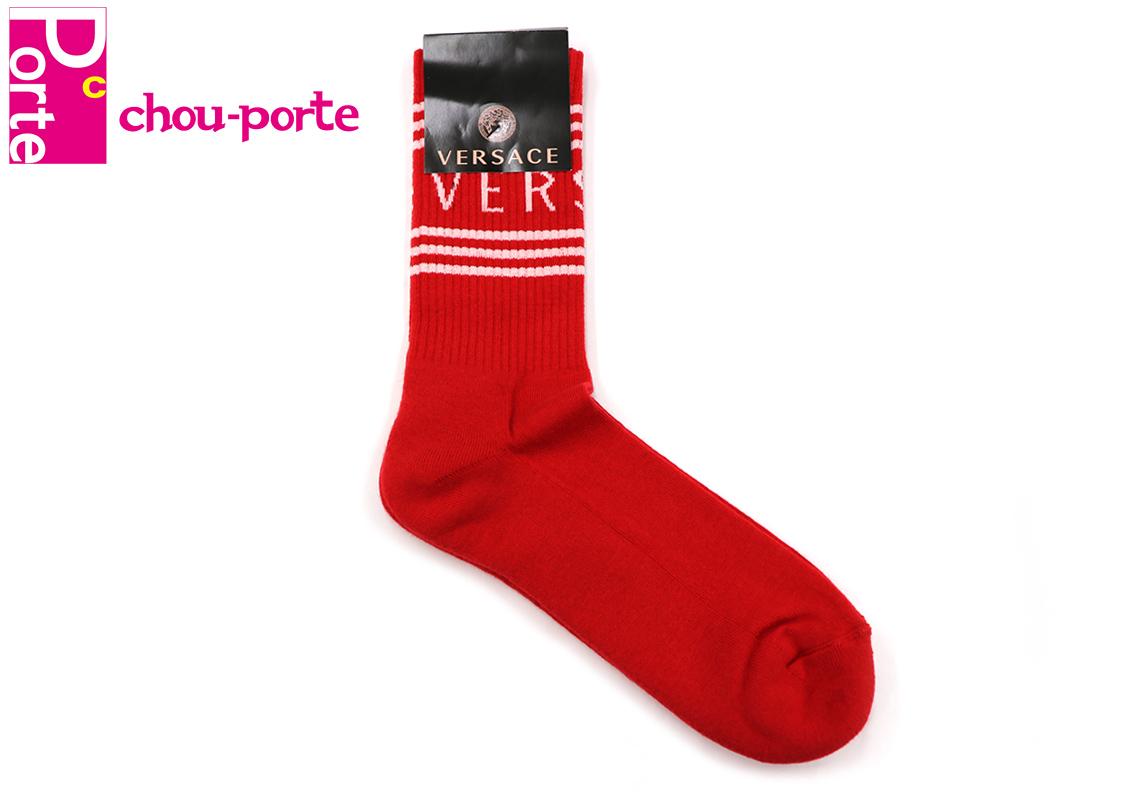 【未使用品】 ヴェルサーチ (VERSACE) ソックス 靴下 ストライプ ロゴ レッド×ホワイト コットン ポリアミド エラスチン メンズ